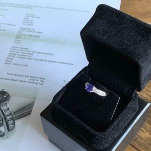 14K White Gold Diamond & Tanzanite Ring